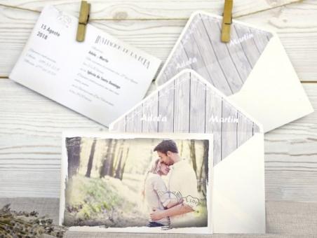 Invitación de boda postal con foto 32512