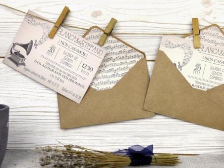 Invitación de boda musical 32514