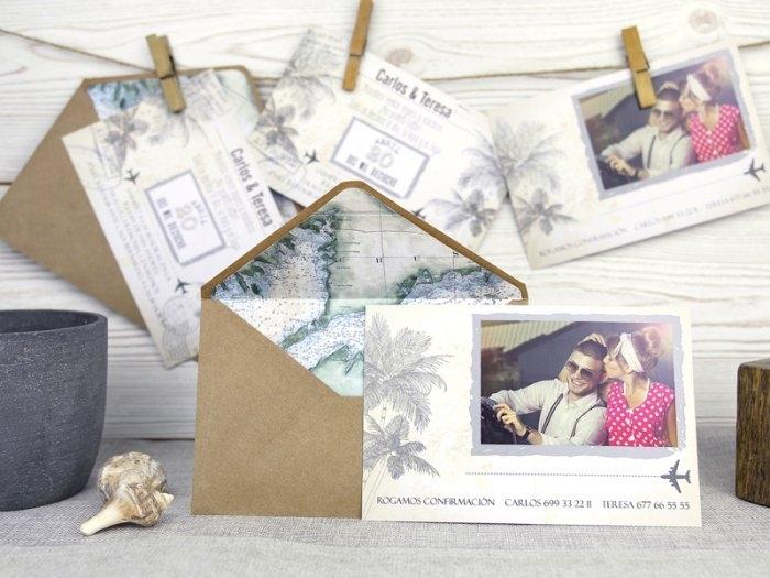 Invitación de boda - POSTAL PLAYA CON FOTO  (A51632)