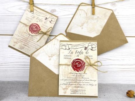 Invitación de boda - PERGAMINO VIAJES    (A51832)