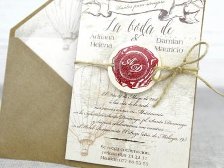 Invitación de boda pergamino viajes 32518