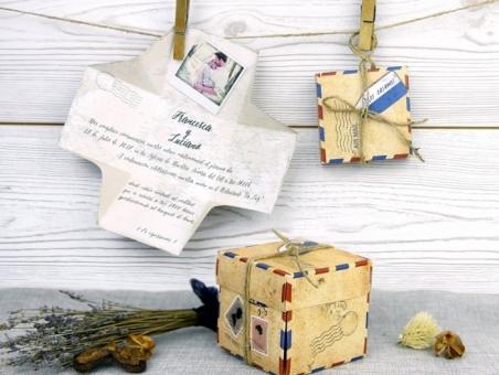 Invitación de boda caja vajes con foto original 32521