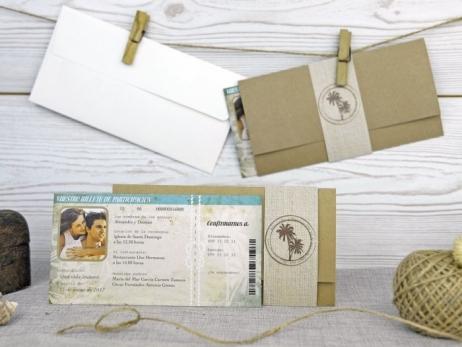 Invitación de boda - BILLETE VIAJE CON FOTO   (A52232)