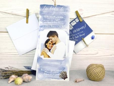 Invitación de boda motivos marinos playa 32523