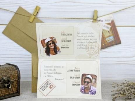Invitación de boda - MALETA VIAJE CON FOTOS   (A52532)