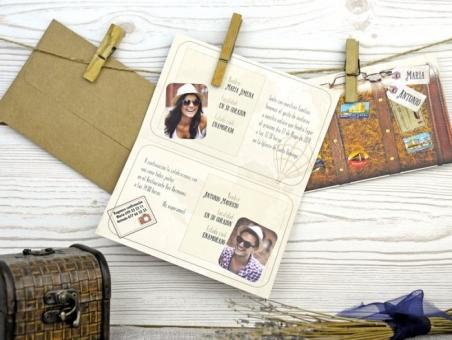 Invitación de boda maleta de viajes con foto 32525