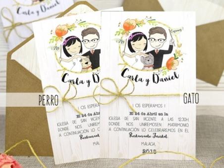 Invitación de boda novios divertidos otoñal 32526