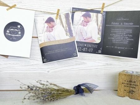 Invitación de boda elegante con foto 32603