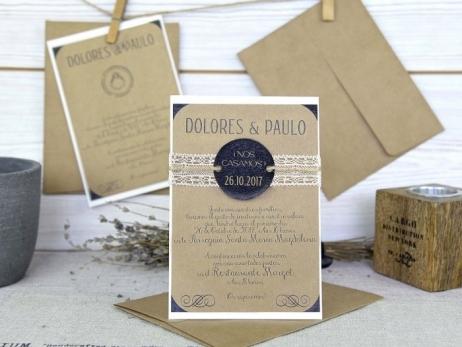 Invitación de boda - KRAFT RUSTICA    (A62832)