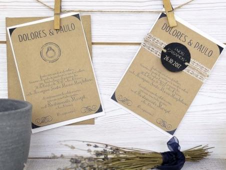 Invitación de boda kraft rustica 32628