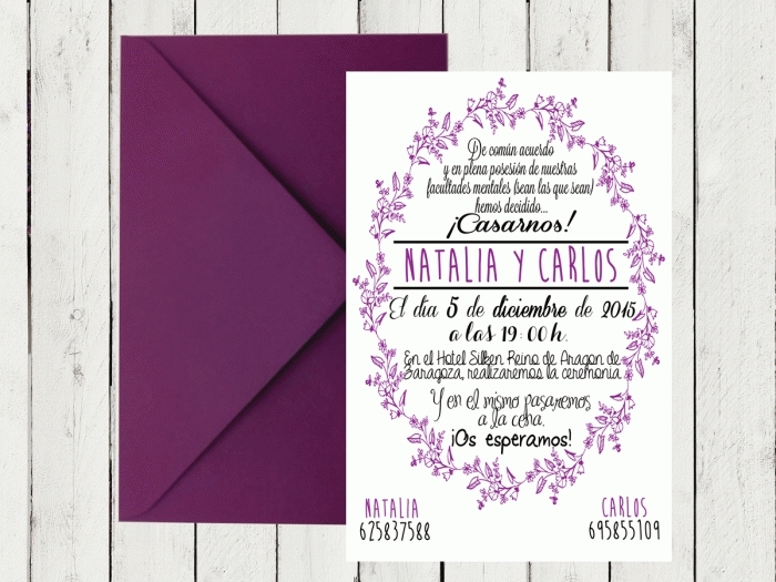 Invitación de boda - CENEFA 2 LILA
