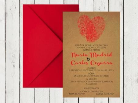 Invitación de boda barata moderna KRAFT HUELLAS DACTILARES