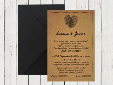 Invitación de boda brata original KRAFT HUELLAS DACTILARES