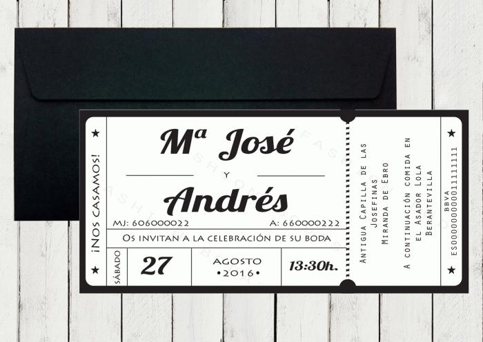 Invitación de boda - ENTRADA CINE / CONCIERTO