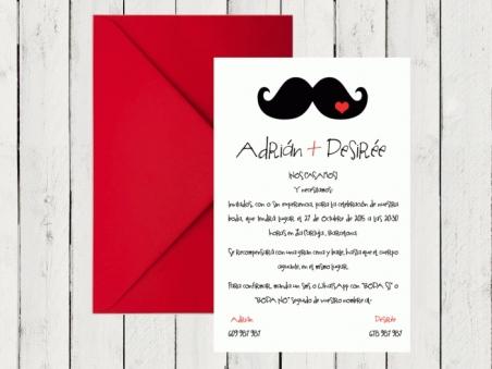 .Invitación de boda - MOSTACHO
