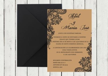 Invitación de boda - KRAFT ENCAJE