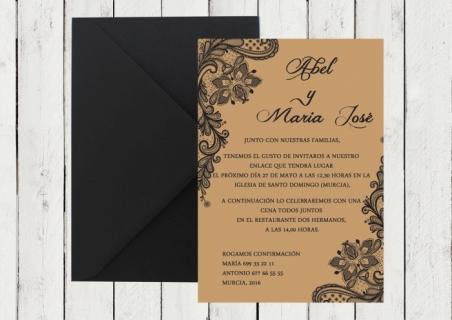 Invitación de boda moderna elegante KRAFT ENCAJE