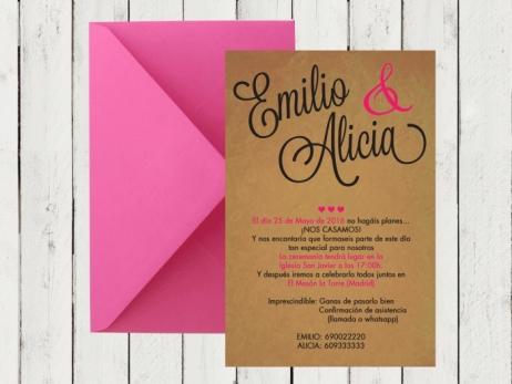.Invitación de boda - KRAFT CELOSIA FUCSIA - FB102