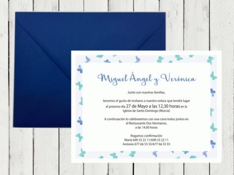 .Invitación de boda - MARIPOSAS AZUL