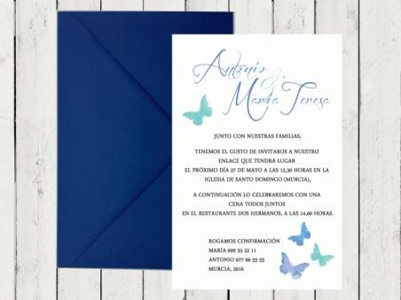 .Invitación de boda - MARIPOSAS AZUL 3