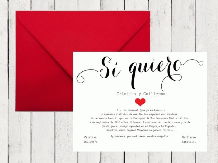 Invitación de boda - SI QUIERO