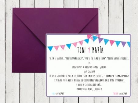 .Invitación de boda - BANDERINES