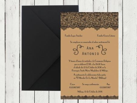 Invitación de boda elegante moderna KRAFT ENCAJE 2