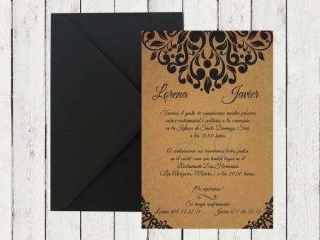 Invitación de boda moderna vintage KRAFT elegante