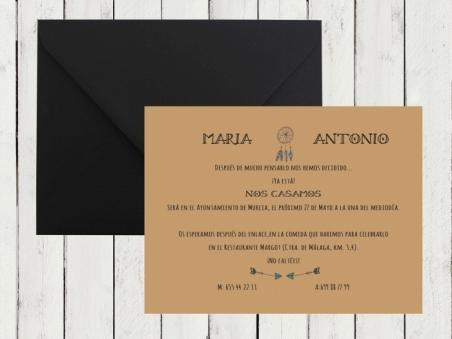 Invitación de boda moderna KRAFT vintage