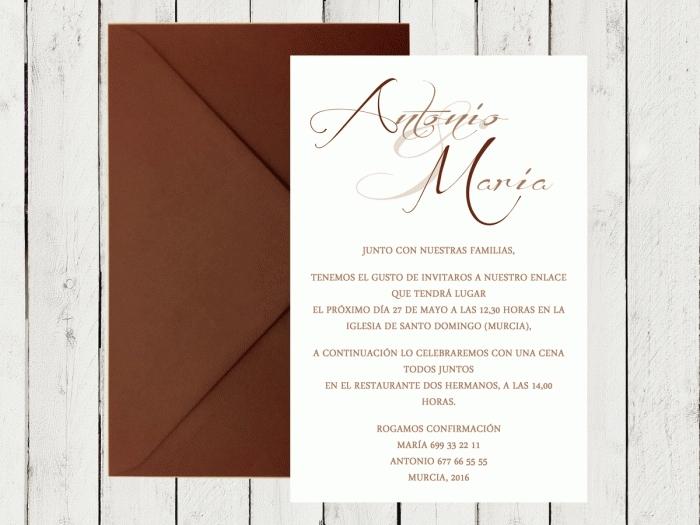 Invitación de boda - CLÁSICA 2 MARRON CHOCOLATE