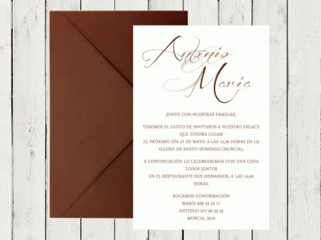 Invitaciones de boda CLASICAS MARRON CHOCOLATE sencillas