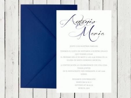 Invitaciones de boda clasicas elegantes sencillas sobre AZUL MARINO