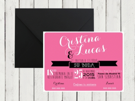 Invitación de boda - AMERICAN STYLE ROSA