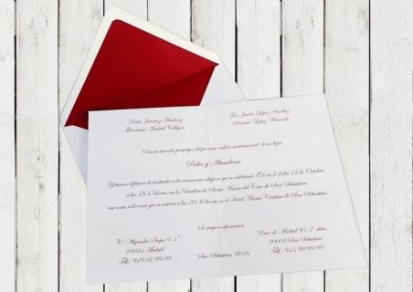 Invitaciones de boda CLASICAS DIPTICO CON FORRO GRANATE