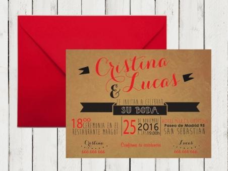 Invitación de boda KRAFT moderna original roja