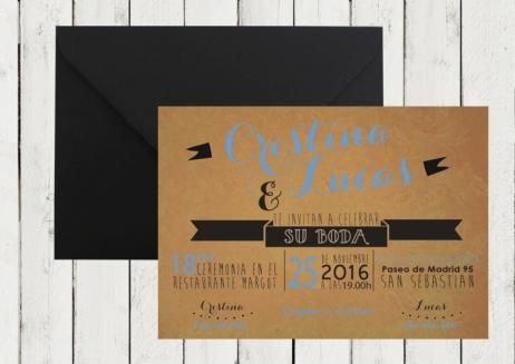 Invitación de boda - KRAFT AMERICAN STYLE azul