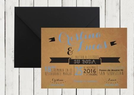 Invitación de boda KRAFT moderna original azul