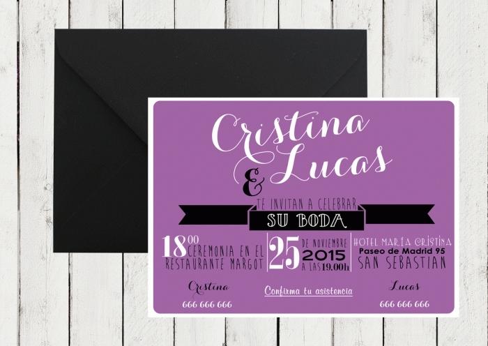 Invitación de boda - AMERICAN STYLE LILA