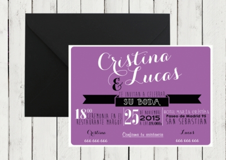 .Invitación de boda - AMERICAN STYLE LILA
