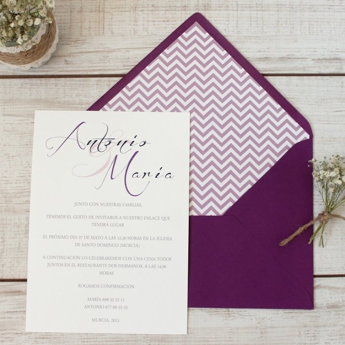 Invitación de boda - CLÁSICA SIMPLE LILA CON FORRO CHEVRON