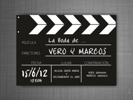 Invitación de boda CLAQUETA cine