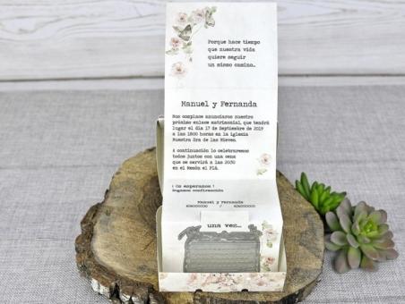 Invitación de boda maleta vintage barata 39300