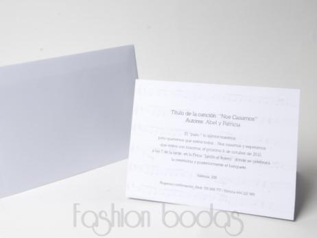 Invitación de boda -  NOTAS DE MÚSICA (MIL12)