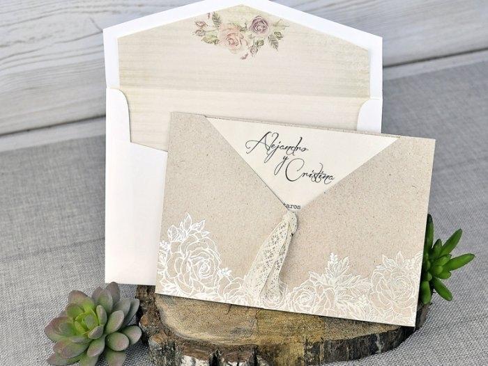 Invitación de boda - VINTAGE con forro en sobre     (C30239)