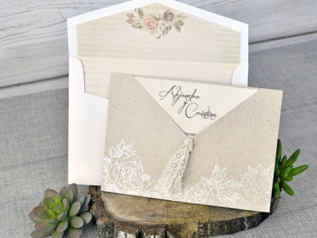 Invitación de boda vintage barata con forro 39302