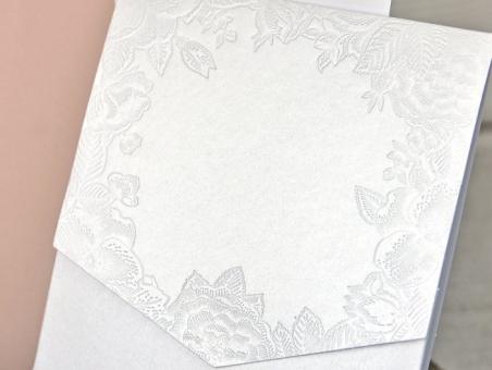 Invitación de boda forro 39312  floral, vintage, barata