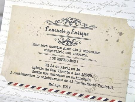 Invitación de boda barata vintage rustica viajes  postal 39313