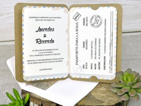 Invitación de boda viajes original PASAPORTE 39315