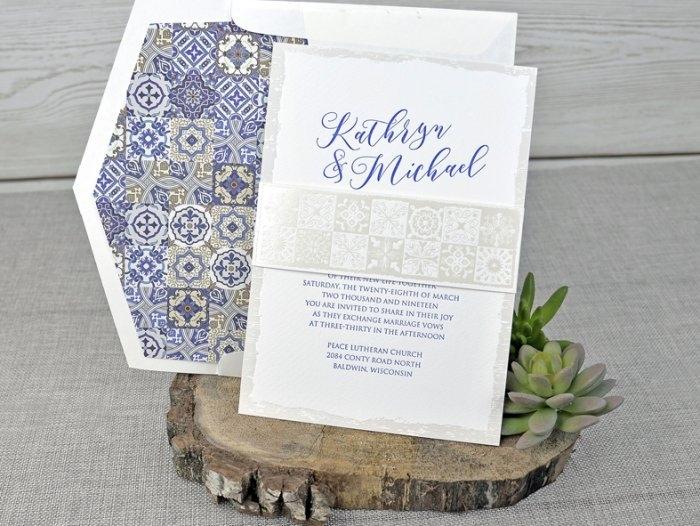 Invitación de boda - CLÁSICA sin forro en sobre (C31739)