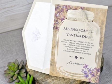 Invitación de boda - TARRO VINTAGE    (C31939)